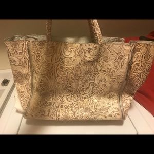 Donald J Pliner cream embossed leather tote